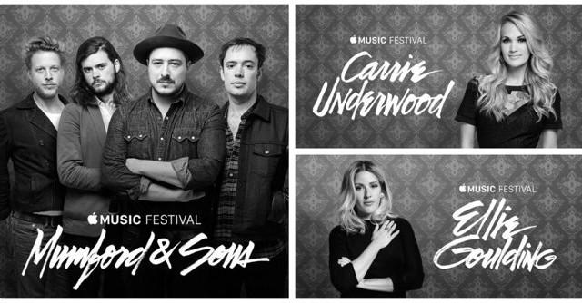 Apple Music Festival oznámil své poslední headlinery – Mumford & Sons, Carrie Underwood a Ellie Goulding