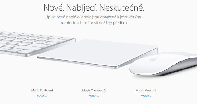 Apple představil nový Magic Mouse 2, Magic Trackpad 2 a Magic Keyboard