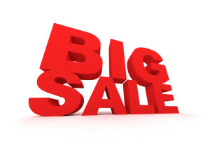 Big Sale sign in red over white background