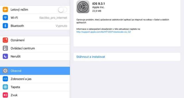 Apple vydal novou verzi iOS 9.3.1, která opravuje chybu s odkazy v Safari