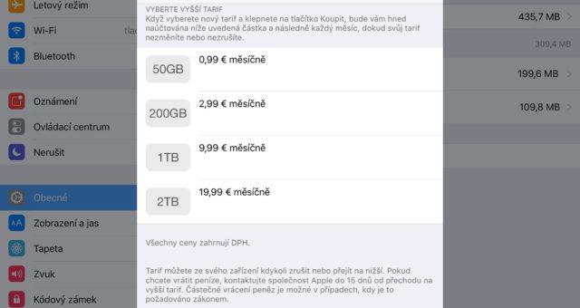 Apple rozšířil nabídku iCloudu na 2 TB prostoru za 20 € měsíčně