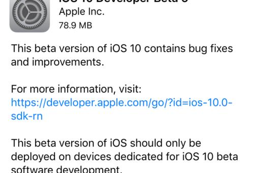 Apple vydal šesté beta verze iOS 10, watchOS 3 a tvOS 10