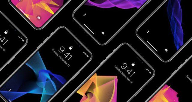 Barevné abstraktní tapety na černém pozadí pro iPhone