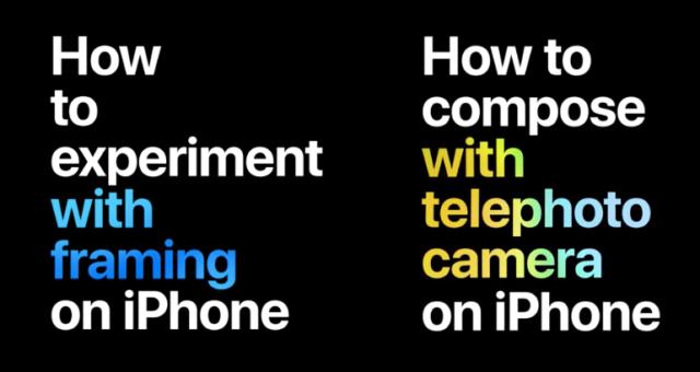 Nová Apple videa Apple pokrývají techniky orámování a komponování s fotoaparátem iPhone