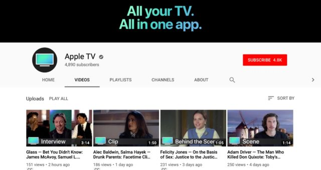 """Apple spustil nový """"Apple TV"""" YouTube kanál s filmovými trailery, rozhovory s celebritami a další"""