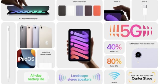 iPad mini 6 má 8,3palcový displej, USB-C, podporu Apple Pencil 2, Touch ID a další
